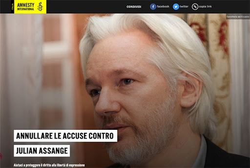 LE ACCUSE A JULIAN ASSANGE DEBBONO ESSERE ANNULLATE! L'appello di Amnesty International
